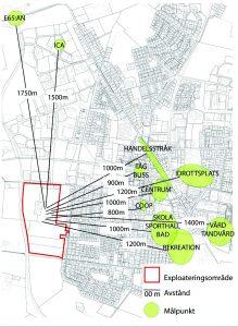Just nu jobbar man på en detaljplanen för Västeräng. Den röda markeringen på kartan visar var gränderna för området kommer att gå.