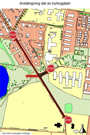 Kyrkogatan är delvis avstängd till 12 december i år. Trafikanter som kommer från järnvägsstationen uppmanas köra via Södergatan och Jörgensgatan.