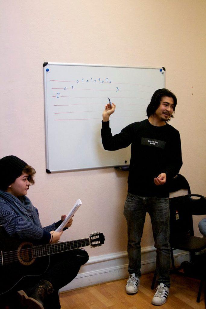 """Reza Rezaie (till höger) går igenom noter under gitarrlektioner. Elnaz Ahmadi (till vänster) brukar komma varje fredag. """"Jag spelar varje sekund"""" säger hon."""