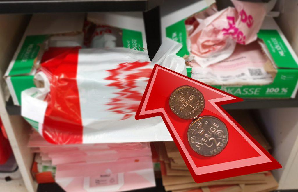 Sex-Sju kronor kommer en plastkasse mest troligt kosta efter första maj 2020.