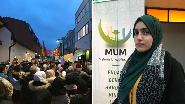 Tasnim Raoof, ordörande för Malmös Unga Muslimer. Foto: Sveriges Radio.
