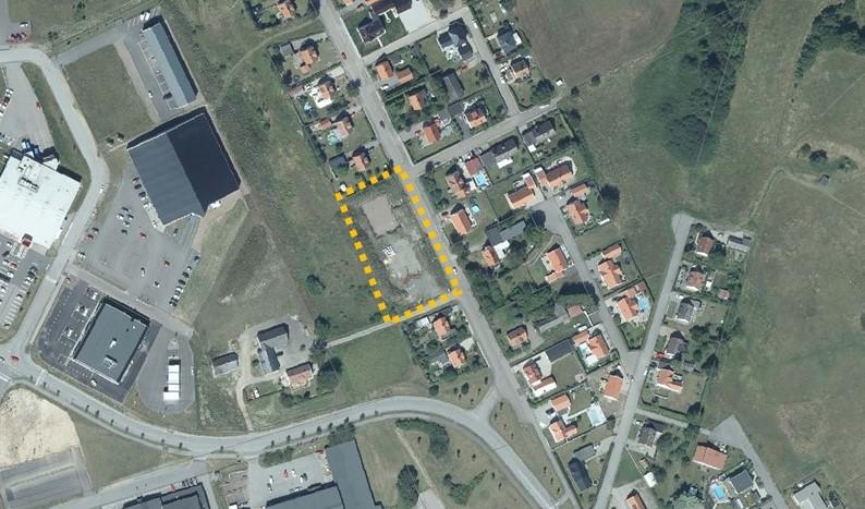 Flygfoto över planområde för bostäder utmed Svaneholmsvägen.