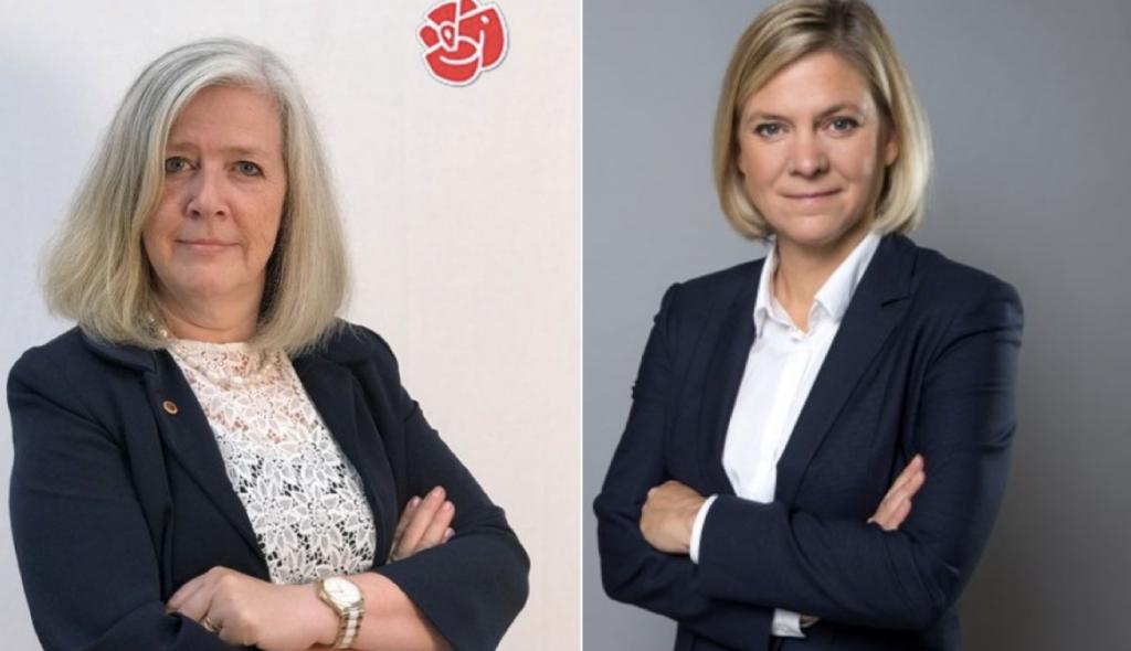 Lena Axelsson (t.v.) glädjer sig över valet av Magdalena Andersson (t.h.). Foto: Socialdemokraterna, Kristian Pohl/Government Offices of Sweden